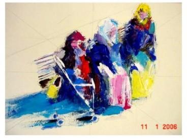 EMIGRACION ( Pintura acrílica solre  lienzo )